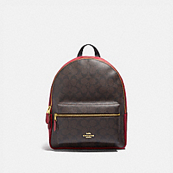 MEDIUM CHARLIE BACKPACK IN SIGNATURE CANVAS - F32200 - BROWN/TRUE RED/LIGHT GOLD