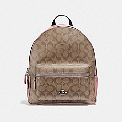 MEDIUM CHARLIE BACKPACK IN SIGNATURE CANVAS - F32200 - KHAKI/PETAL/SILVER