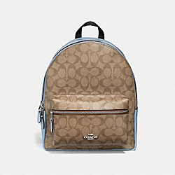 COACH F32200 Medium Charlie Backpack In Signature Canvas KHAKI/PALE BLUE/SILVER