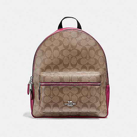COACH F32200 MEDIUM CHARLIE BACKPACK IN SIGNATURE CANVAS<br>蔻驰中查理背包在签名画布 卡其/樱桃银