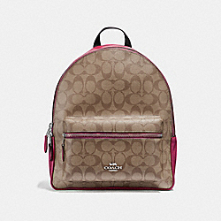 COACH F32200 Medium Charlie Backpack In Signature Canvas KHAKI/CERISE/SILVER