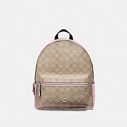 MEDIUM CHARLIE BACKPACK IN SIGNATURE CANVAS - F32200 - LIGHT KHAKI/CARNATION/SILVER