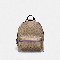 COACH F32200 Medium Charlie Backpack In Signature Canvas KHAKI/JASMINE/SILVER