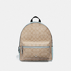 MEDIUM CHARLIE BACKPACK IN SIGNATURE CANVAS - F32200 - LIGHT KHAKI/SEAFOAM/SILVER