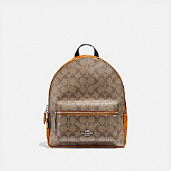 COACH F32200 Medium Charlie Backpack In Signature Canvas KHAKI/DARK ORANGE/SILVER