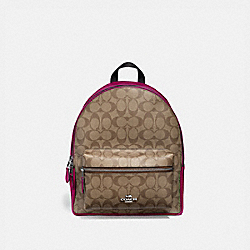 MEDIUM CHARLIE BACKPACK IN SIGNATURE CANVAS - F32200 - SV/KHAKI DARK FUCHSIA