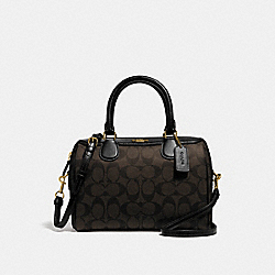 COACH F32203 Mini Bennett Satchel In Signature Canvas BROWN/BLACK/LIGHT GOLD