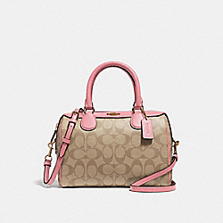 COACH F32203 Mini Bennett Satchel In Signature Canvas LIGHT KHAKI/PEONY/LIGHT GOLD