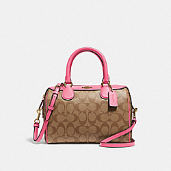 MINI BENNETT SATCHEL IN SIGNATURE CANVAS - F32203 - KHAKI/PINK RUBY/GOLD