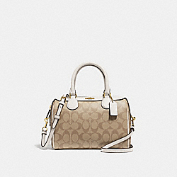 MINI BENNETT SATCHEL IN SIGNATURE CANVAS - F32203 - LIGHT KHAKI/CHALK/IMITATION GOLD