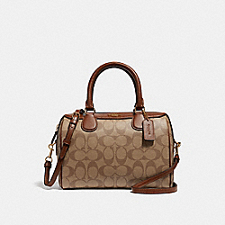 COACH F32203 Mini Bennett Satchel In Signature Canvas KHAKI/SADDLE 2/LIGHT GOLD