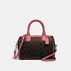 MINI BENNETT SATCHEL IN SIGNATURE CANVAS - F32203 - BROWN/STRAWBERRY/IMITATION GOLD