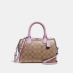 COACH F32203 Mini Bennett Satchel In Signature Canvas KHAKI/LILAC/SILVER