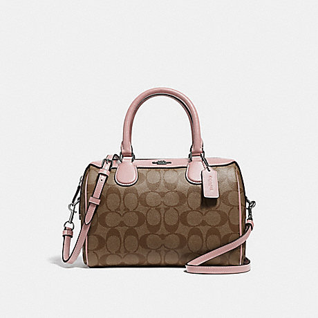 COACH F32203 MINI BENNETT SATCHEL IN SIGNATURE CANVAS<br>蔻驰小贝内特挎在签名画布 卡其/瓣/银
