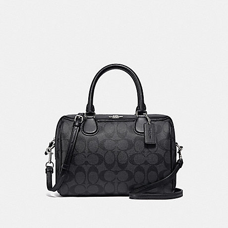 COACH F32203 MINI BENNETT SATCHEL IN SIGNATURE CANVAS BLACK SMOKE/BLACK/SILVER