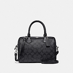 MINI BENNETT SATCHEL IN SIGNATURE CANVAS - F32203 - BLACK SMOKE/BLACK/SILVER