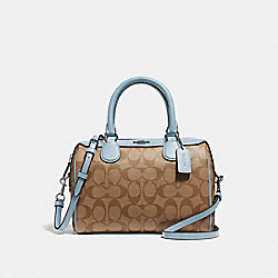 MINI BENNETT SATCHEL IN SIGNATURE CANVAS - f32203 - khaki/pale blue/silver