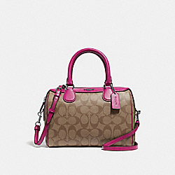 COACH F32203 Mini Bennett Satchel In Signature Canvas KHAKI/CERISE/SILVER
