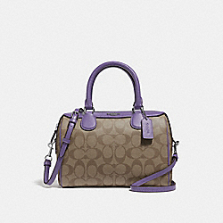 MINI BENNETT SATCHEL IN SIGNATURE CANVAS - F32203 - KHAKI/LIGHT PURPLE/SILVER