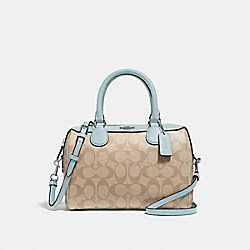MINI BENNETT SATCHEL IN SIGNATURE CANVAS - F32203 - LIGHT KHAKI/SEAFOAM/SILVER