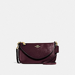 TOP HANDLE POUCH - f32211 - oxblood 1/light gold