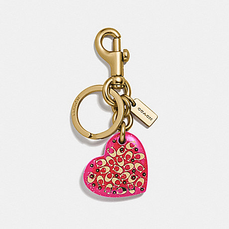 COACH F32230 SIGNATURE HEART BAG CHARM NEON PINK/GOLD