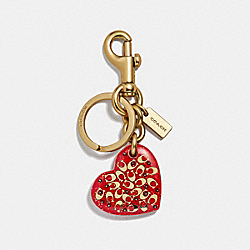 COACH F32230 Signature Heart Bag Charm BRIGHT RED/GOLD