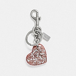 COACH F32230 - SIGNATURE HEART BAG CHARM NUDE PINK/SILVER