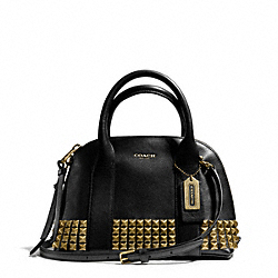 COACH F32244 Bleecker Mini Preston Satchel In Studded Leather ANTIQUE BRASS/BLACK