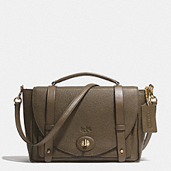 COACH F32263 - BLEECKER BROOKLYN MESSENGER IN PEBBLE LEATHER GOLD/OLIGHT GOLDVE FATIGUE