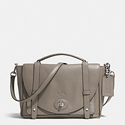BLEECKER BROOKLYN MESSENGER IN LEATHER - f32278 -  ANTIQUE NICKEL/GREY