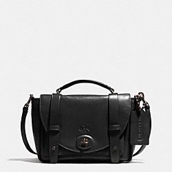 BLEECKER MINI BROOKLYN MESSENGER BAG IN LEATHER - f32279 -  AMBER/BLACK