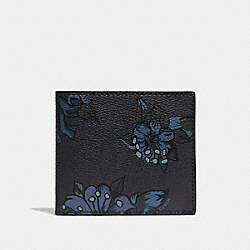 COACH F32304 Double Billfold Wallet With Hawaiian Lily Print F23