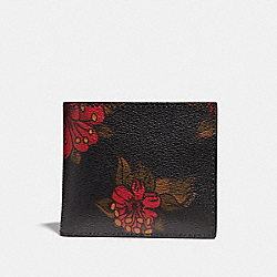 COACH F32304 Double Billfold Wallet With Hawaiian Lily Print REM