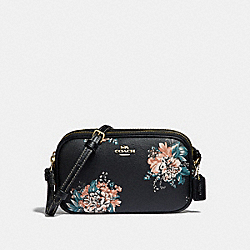 COACH F32318 - CROSSBODY POUCH WITH TOSSED BOUQUET PRINT BLACK MULTI/LIGHT GOLD