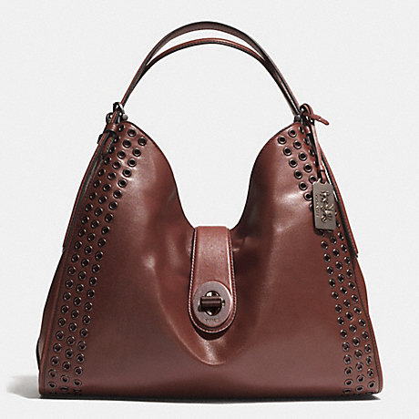 COACH f32404 MADISON GROMMETS LARGE CARLYLE SHOULDER BAG IN LEATHER  ARBRK