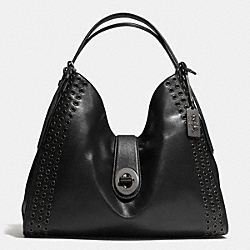 COACH F32404 - MADISON GROMMETS LARGE CARLYLE SHOULDER BAG IN LEATHER  ANTIQUE NICKEL/BLACK