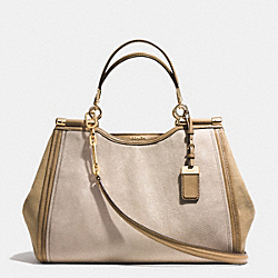 COACH F32423 - MADISON PINNACLE CAROLINE SATCHEL IN STINGRAY EMBOSSED LEATHER  GOLD/KHAKI