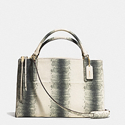 THE BOROUGH BAG IN STRIPED EMBOSSED LEATHER - f32424 -  GOLD/BLACK/WHITE