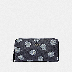 ACCORDION ZIP WALLET IN SIGNATURE ROSE PRINT - F32431 - DK/CHARCOAL SKY