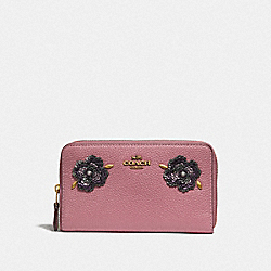 COACH F32434 - MEDIUM ZIP AROUND WALLET WITH LEATHER SEQUIN APPLIQUE ROSE/BRASS