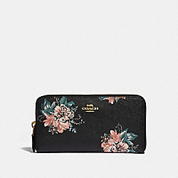 COACH F32435 Accordion Zip Wallet With Tossed Bouquet Print BLACK MULTI/LIGHT GOLD