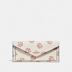 COACH F32437 - SOFT WALLET WITH ROSE PRINT LI/CHALK ROSE PRINT