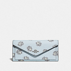 COACH F32437 Soft Wallet With Rose Print SV/SKY ROSE PRINT