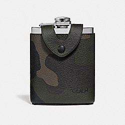 FLASK WITH CAMO PRINT - f32440 - DARK GREEN MULTI/BLACK ANTIQUE NICKEL