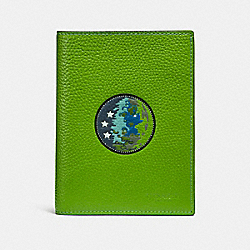 COACH F32465 Passport Case With Space Patches NEON GREEN
