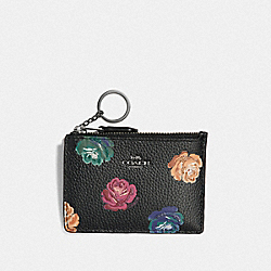 COACH F32479 Mini Skinny Id Case With Rainbow Rose Print RAINBOW ROSE PRINT/DARK GUNMETAL