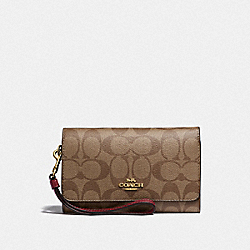 COACH F32484 Flap Phone Wallet In Signature Canvas KHAKI/CHERRY/LIGHT GOLD