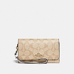 FLAP PHONE WALLET IN SIGNATURE CANVAS - F32484 - LIGHT KHAKI/CHALK/GOLD