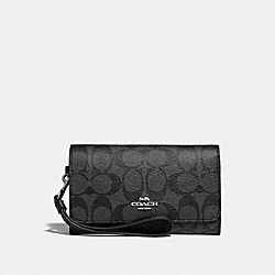 COACH F32484 Flap Phone Wallet In Signature Canvas BLACK SMOKE/BLACK/SILVER